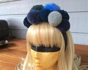 Beautiful pompom headband in different shades of blue