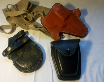 Vintage gun holster,handcuff pouch, leather ,Gil Holsters ,Coombewood