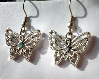 Silver Butterfly Dangle Earrings with Crystal Detail