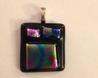 Black and Multicolored Square Necklace Pendant