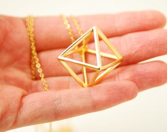 Geometric Necklace Gold Triangle Necklace Gold Pyramid Necklace 3D Geometric Statement Necklace Modern Gold Minimalist Jewelry For Her