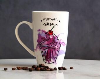 Mum cake watercolor, watercolor cakes MOM mug Cup