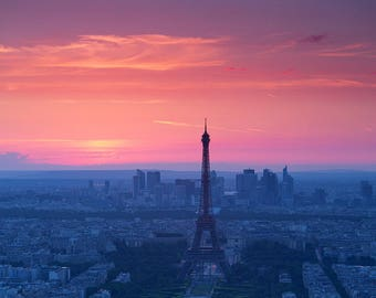 Paris Eiffel Tower with sunset background, artistic photography decorative.