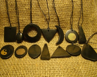 Shungite pendants set 14 pieces of Karelia.