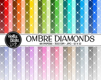 Buy 1 Get 1 Free!! 48 Ombre Diamonds Digital Paper • Rainbow Digital Paper • Commercial Use • Instant Download • #DIAMONDS-128-2-O