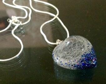 Resin Heart horse/pethair pendant