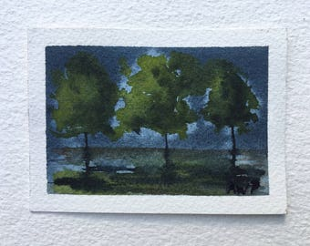 "Night Glow on Trees - mini Original Watercolor Painting by Anne Pouch ACEO ATC 2.5"" x 3.5"""