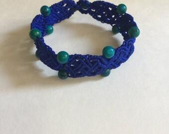handmade micro macrame woven bracelet blue