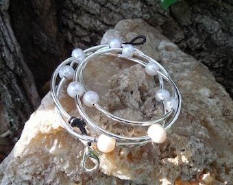 Silver and Baroque Pearl Wrap Bracelet