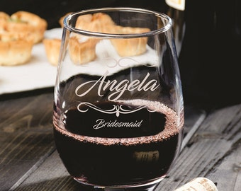 8 Personalized Stemless Wine Glasses - Wedding Gifts - Groomsman - Wedding Party -Bridal Shower - Engraved Gifts - Custom Etched Glassware