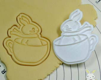 Bunny on a Cup Cookie Cutter and Stamp