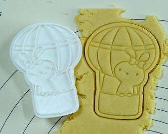 Bunny on Hot Air Balloon Cookie Cutter and Stamp