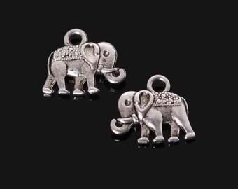 Silver Plated Elephant Pendant Charms 10 Pcs