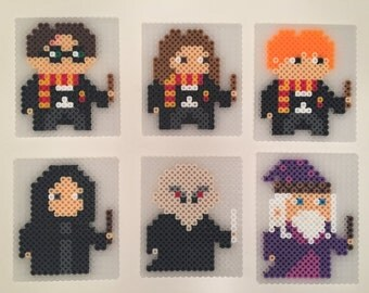 Harry Potter Coasters - Perler Beads | Harry Potter | Hermione Granger | Ron Weasley | Dumbledore