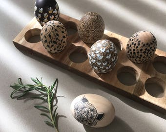 Set of 6 hand painted wooden eggs