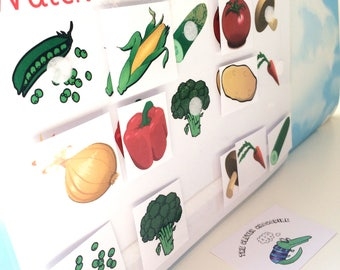 Learn vegetable words, matching game, EYFS, Nursery, teaching resource, visual learner, reception, early learning, pre-school