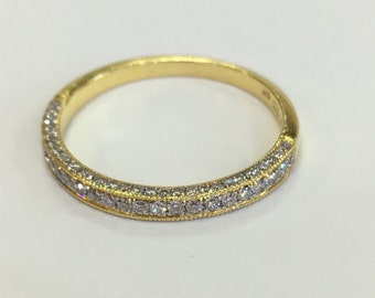 Three sided pave diamond wedding band