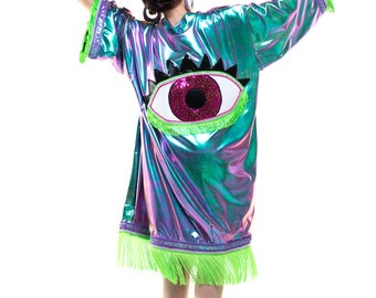 Iridescent All Seeing eye Festival Kimono