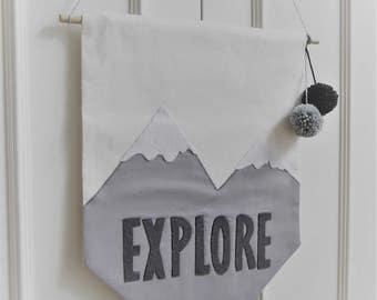 EXPLORE. Adventure nursery decor, grey nursery. Wall hanging, Scandi nursery wall decor, Mountain Wall Art. Monochrome decor. Christmas gift