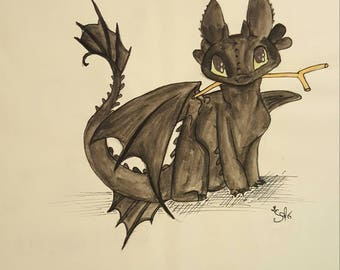 Original Toothless Watercolor and Ink Illustration