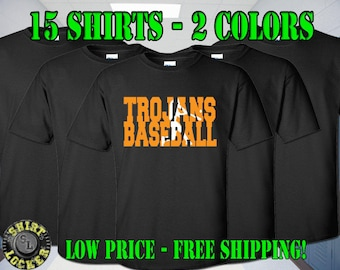15 Baseball Spirit Wear Shirts Any Color Shirts, Any 2 Color Design Fully Customizable and Free Shipping Support Your Team