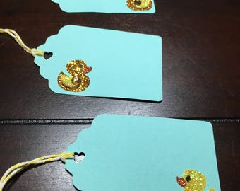 Rubber Ducky Tags, Duck Favor Tags, Place Cards, Placecards, Ducky Goodie Bag Gift Tags, Duck Baby Shower Food Labels-12/order