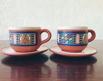 Vintage Ruiz Caro Peruvian Cups and Saucers (Set of 2)