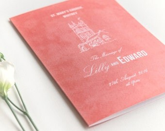 Traditional Style Order Of Service 4-page Booklet / Coral Pink