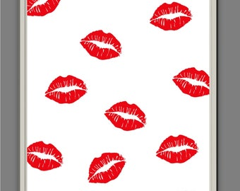 Lots of Lips // Wall Art // Wall Print // Typography // Colour Print // Home Decor