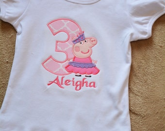 Peppa Pig Birthday Shirt ~ Ballerina Peppa ~ Birthday Shirt ~ Girls Boutique Clothing