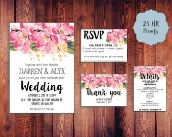 Pink Floral Wedding Invite