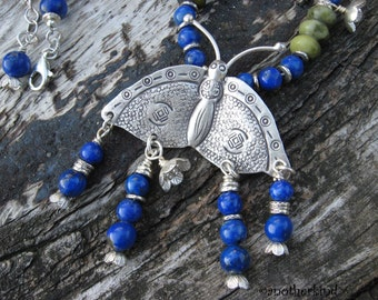 Fly Away Butterfly Necklace with Lapis Lazuli and Serpentine