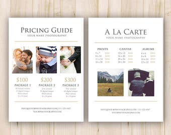 Photography Pricing Template, Price Guide List for Photographers - Photoshop Template, PSD *INSTANT DOWNLOAD*