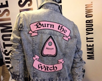 Hand printed felt patch set Burn the Witch planchette ouijia pink