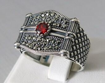 Handmade 925 Sterling Silver Red Zircon STONE Men's RING #C25