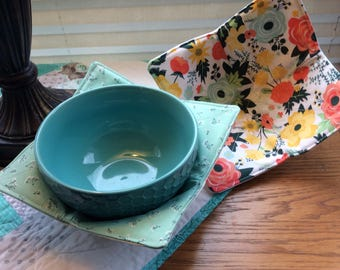 Quilted Microwave Bowl Cozy - Quilted Bowl Cozy - Pot Holder - Microwave Bowl Cozy - Bowl Holder