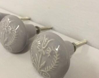 Set 6 X DOVE grey embossed ceramic knobs -  Ceramic Home decor drawer pull