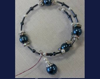 Blue and White Glass Pearl Memory Wire Bracelet- Bridal Jewelry