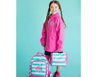 Backpack, Lunch Box, SET, Monogrammed backpack, Skylar back pack, diaper bag, back to school pink and mint FREE MONOGRAMMING, Gym bag