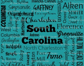 South Carolina Cities fabric - Fat Quarter - teal and black - grey and black