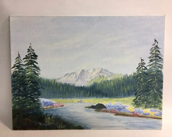 Mountain Landscape with River Original Oil Painting Signed | Small Painting | Vintage Painting | Landscape Painting | Mountain Scene