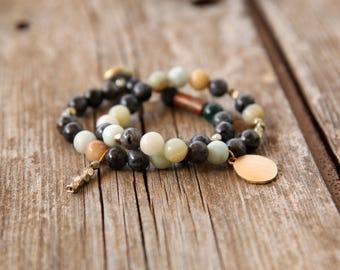 Bracelet set, Beaded Bracelet, Stacking Bracelet, Elastic Bracelet, Womens Bead Bracelet, Earth colors bracelet, Black bracelets set