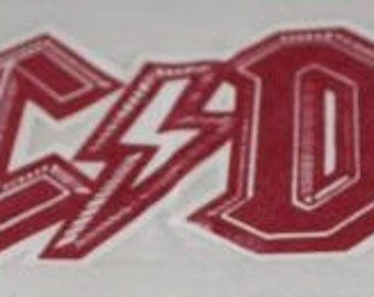 Vintage ACDC Iron on Transfer Red Lettering