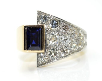 Ring Art - Deco Sapphire and diamond - reserved