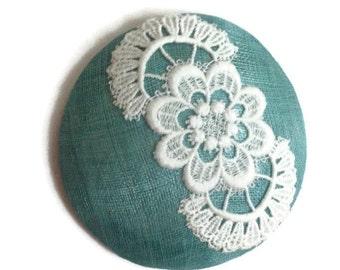 Aqua Cocktail Hat, Green Blue Vintage Lace Pillbox, Wedding Church Races Hat, Handmade Hat, Sinamay Straw Headpiece, Light Blue Fascinator