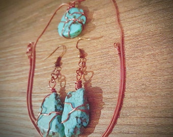 Wire Wrapped Turquoise Necklace and Earring Set
