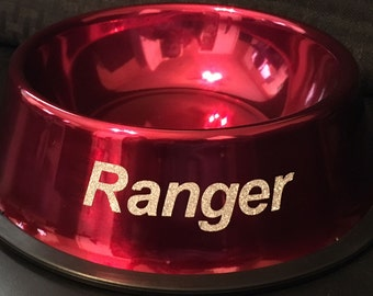 Custom Pet Dishes - Powder Coated with Vinyl Lettering!