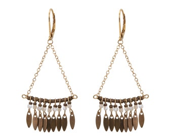 Mother-of-pearl earrings Lou, Golden end 24 k,