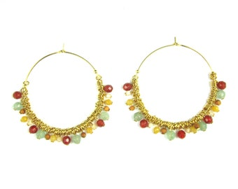 Jane, Golden end 24 k earrings