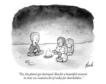 "Print of New Yorker cartoon ""Yes The Planet Got Destroyed"""
